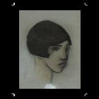 Taidejäljennös Mustatukkaisen naisen pää